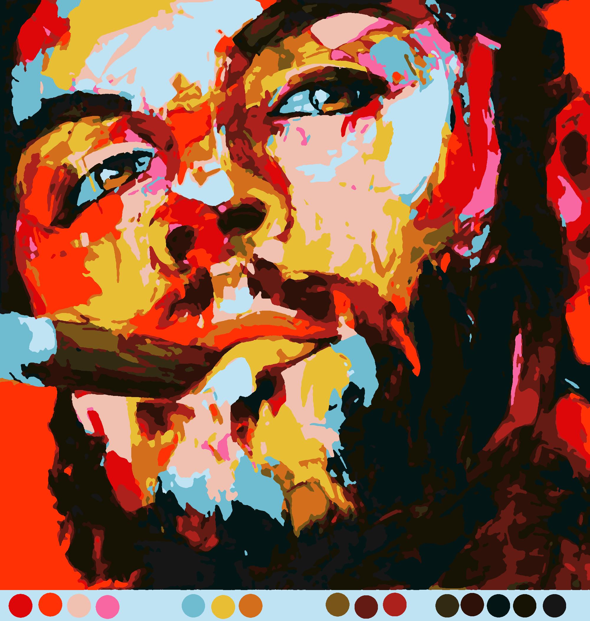 Схемы раскраски по номерам скачать бесплатно. Портрет (16цв.)