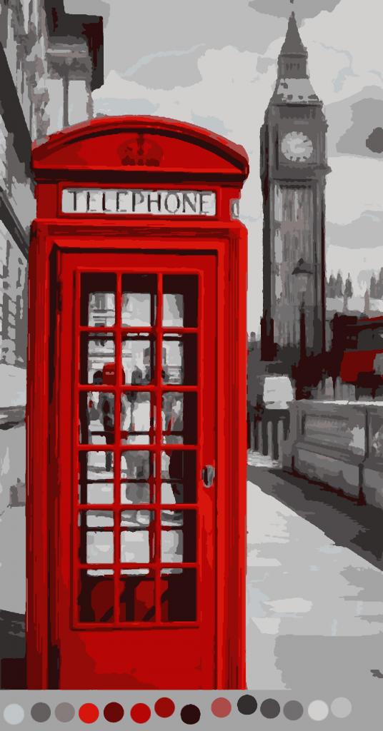 Раскраски по номерам схемы. Англия Красный таксофон (15цв.)